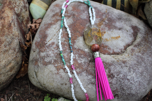 Boho Tassel Necklace/ Pink Leather Tassel Necklace