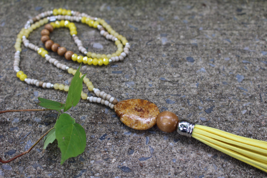 Boho Tassel Necklace/ Beaded Leather tassel necklace/ Bohemian Jewelry