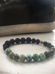 Men's Beaded Bracelet w/ Lava stone and African Turquoise beads