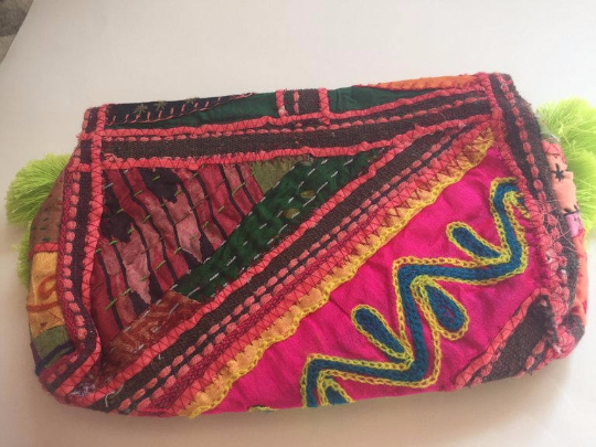 Boho Clutch/ Tassel Cross body Festival  Banjara bag/ Gypsy Clutch/Vintage bag