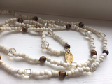 Long  beaded necklace with tiger eye . Long Layering Necklace