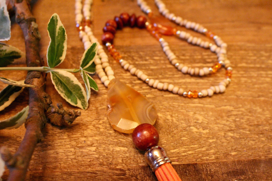 Tassel Necklace, Boho Beaded Leather Tassel Necklace with Orange Agate Detail, Boho Jewelry