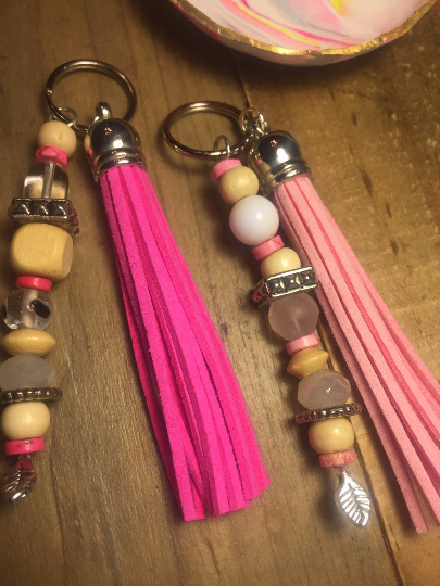 Pink Boho Beaded Leather Tassel Keychain/ Key ring/ Purse charm accessory