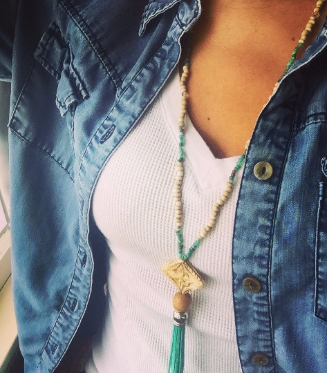 Boho Leather Tassel Necklace with carved bone pendant.  Boho Jewelry