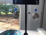 Sterling silver pattern earrings Hand made &  Oxidized  w/ blue agate.