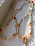 Long  beaded necklace with Orange agate. Layering Necklace