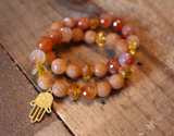 Beaded Hamsa Charm Bracelet set with Aventurine & Agate beads