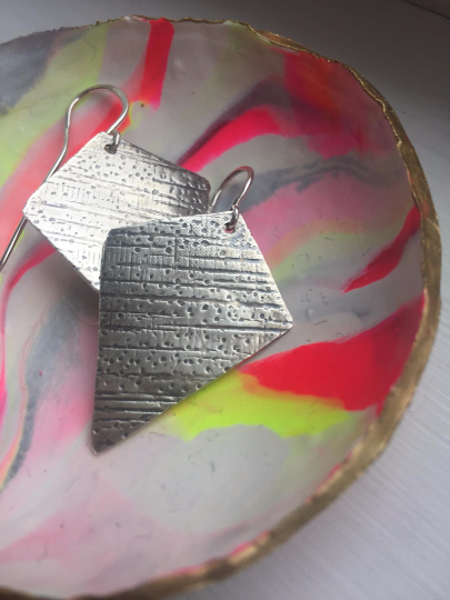Handmade Textured Sterling Silver Earrings