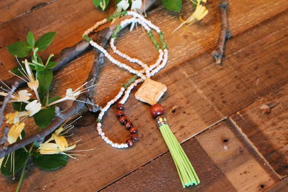 Beaded Green Leather Tassel Necklace W/Carved Bone Pendant. Boho Beautiful