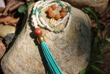 Beaded Teal Leather Tassel Necklace with Tiger Eye Beads. Boho Necklace, Boho Jewelry