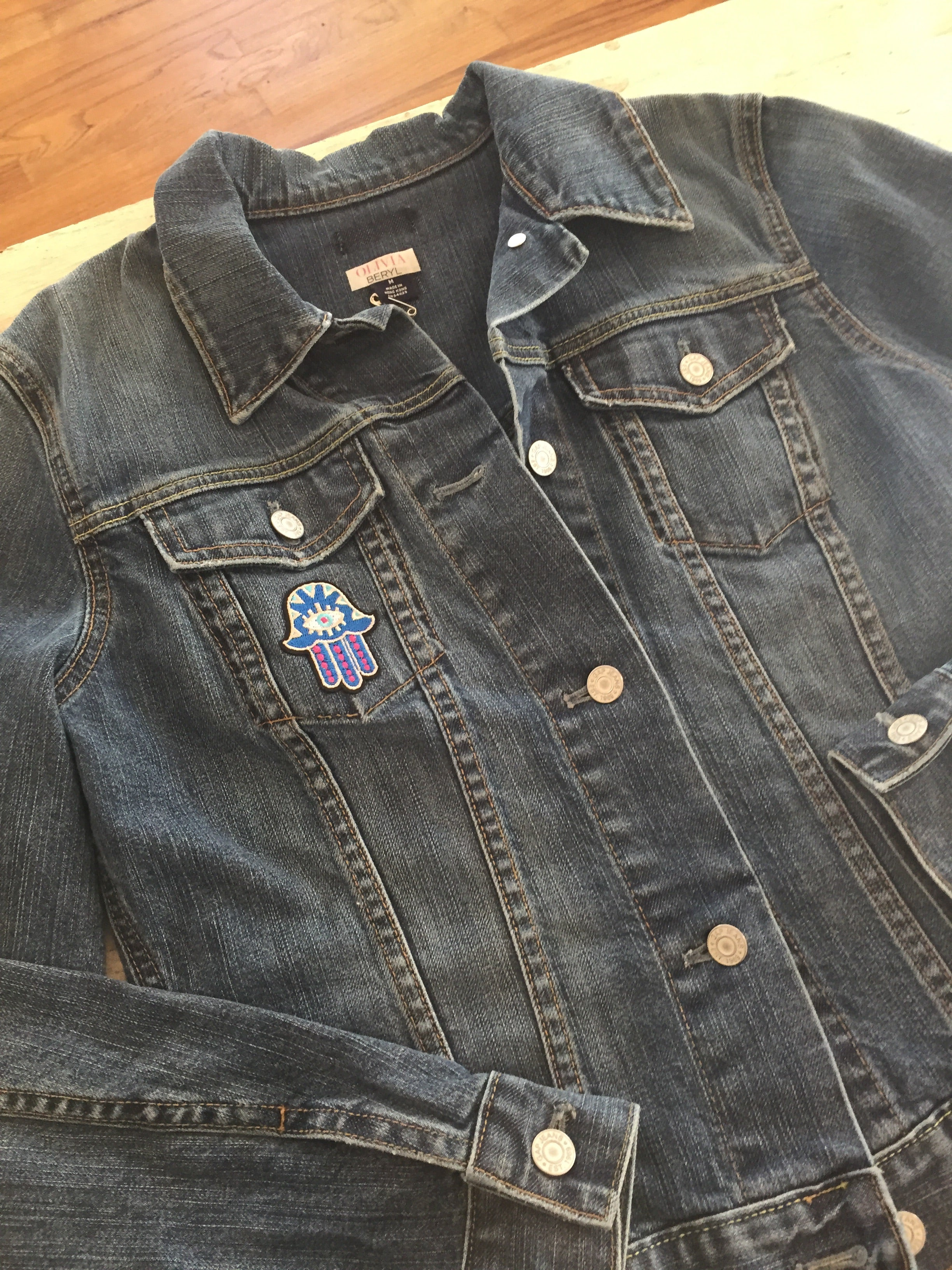 Vintage Denim Jacket with Hamsa Patch