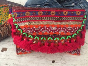 Red Tassel  Banjara Boho Clutch/ Cross body Festival bag/ Gypsy Clutch/Vintage bag