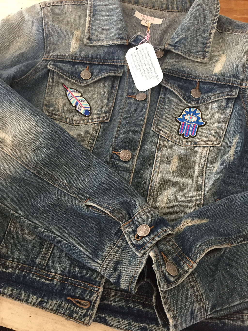 Vintage Denim Jacket with Patches