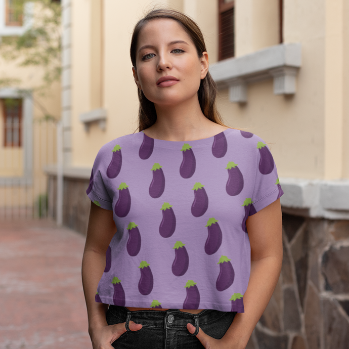 EGGPLANT - Patterned Crop Tee