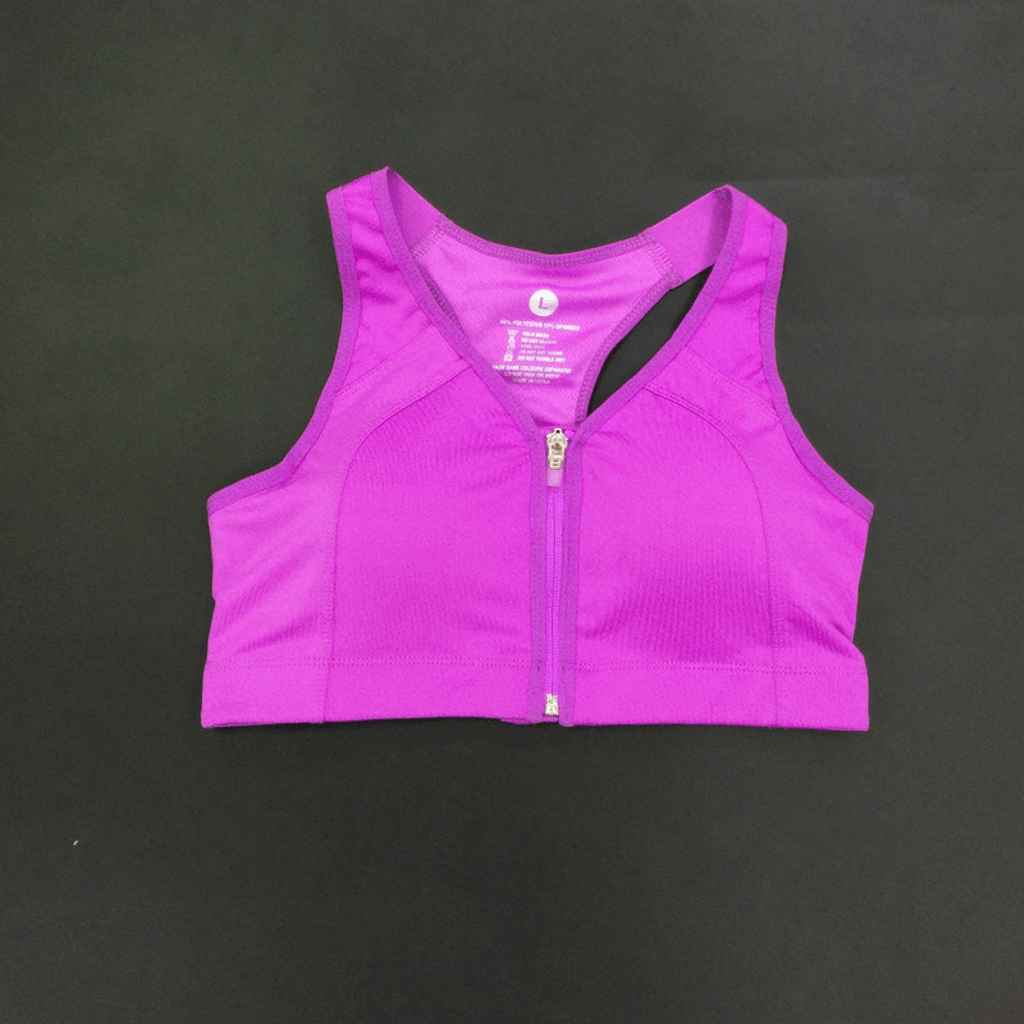 Purple Front Zipper Sports Bras Picture