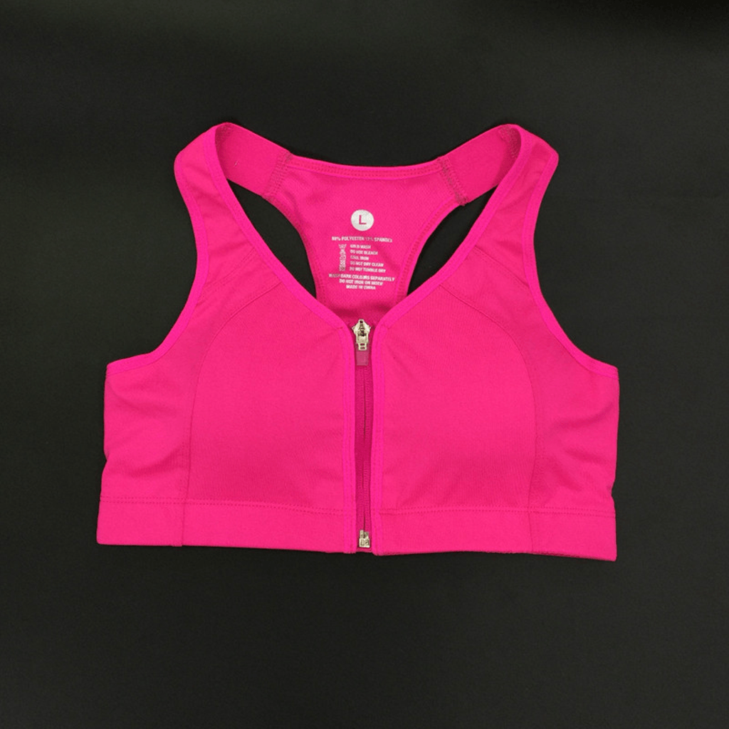 Pink Front Zipper Sports Bras Picture