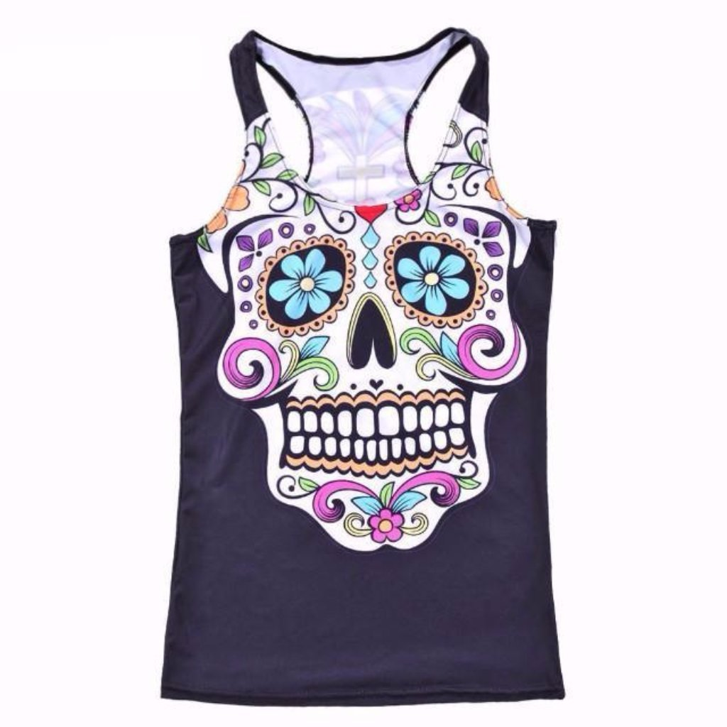 Day of the Dead Sugar Skull Workout Tank