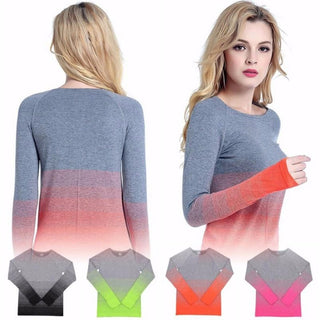 Ombre Long Sleeve Workout Top All