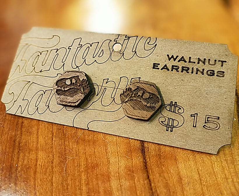 T-Rex Walnut Earrings