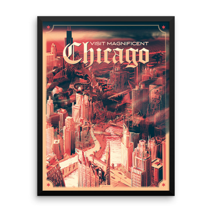 The Ruins of Chicago: Framed poster