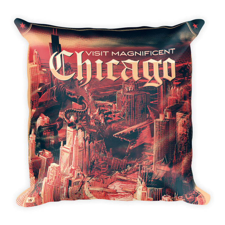The Ruins of Chicago: Square Pillow