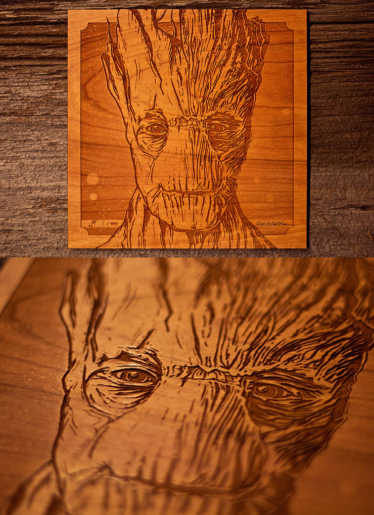 I am Groot Wood Portrait