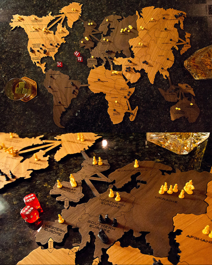 Wooden Board Game World Map