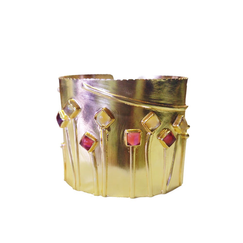 FLOWERS IN BLOOM cuff: Tourmaline/Citrine