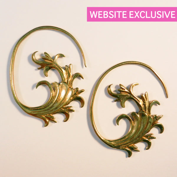 Brass Earrings With Vine Design - Punktured