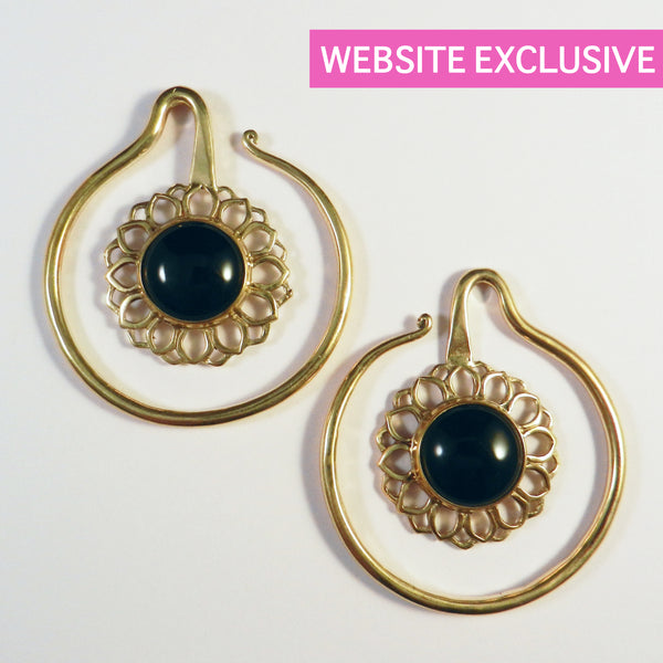 Brass Earrings with Black Stone Inlay - Punktured