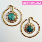 Brass Earrings with Turquoise Inlay - Punktured