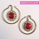 Brass Earrings with Red Stone Inlay - Punktured