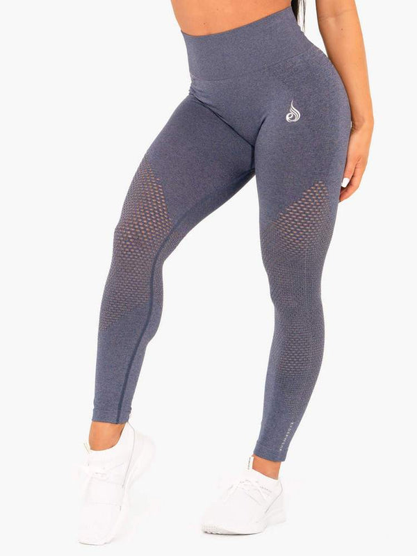 RYDERWEAR GEO SEAMLESS HIGH WAISTED LEGGINGS NAVY | VAAMSPORT