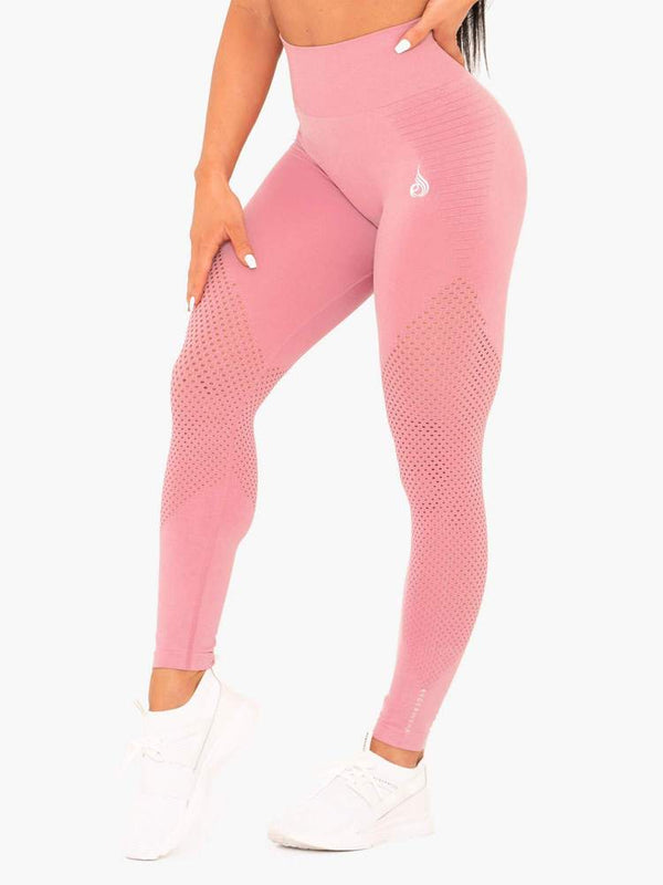 RYDERWEAR GEO SEAMLESS HIGH WAISTED LEGGINGS PINK | VAAMSPORT