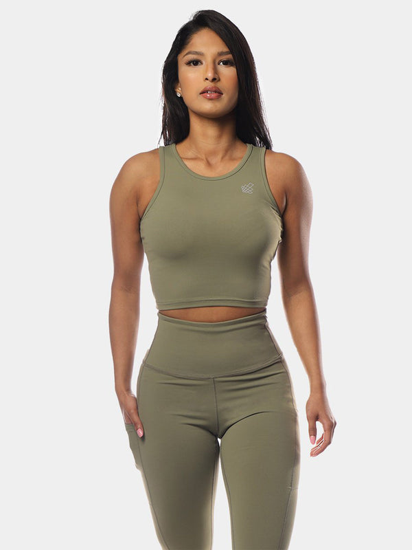 HATHA TOP - OLIVE GREEN | VAAMSPORT