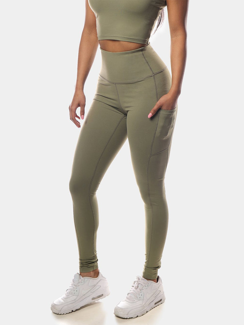 LOTUS LEGGINGS - OLIVE GREEN | VAAMSPORT