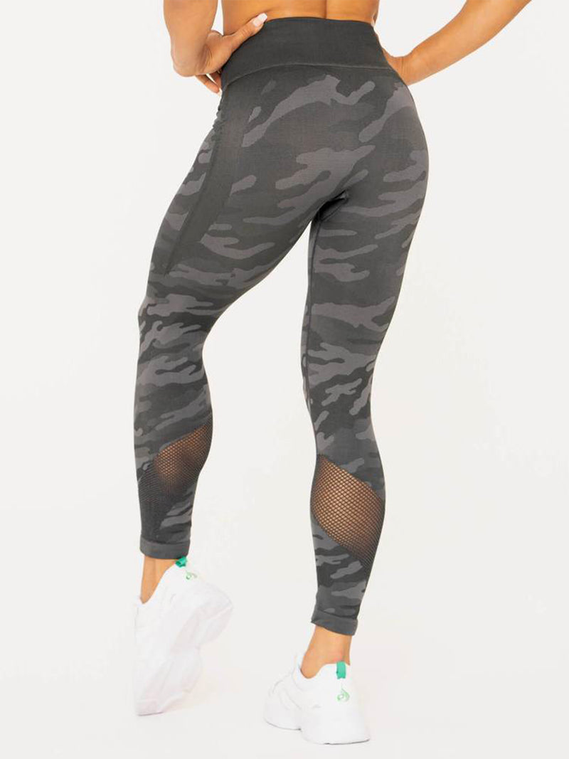 RYDERWEAR CAMO SEAMLESS HIGH WAISTED LEGGINGS - CHARCOAL CAMO | VAAMSPORT