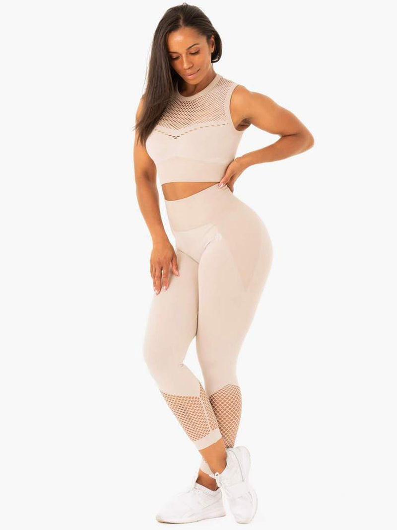 RYDERWEAR OASIS SEAMLESS LEGGINGS - OFF WHITE SAND | VAAMSPORT