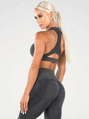 SEAMLESS SPORTS BRA - CHARCOAL MARLE | VAAMSPORT