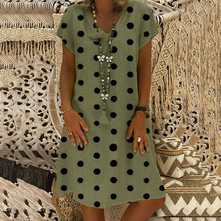 Dot print V Neck Dress (4variants)