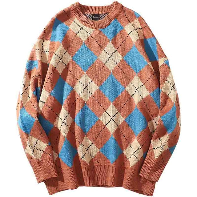 Retro Plaid Streetwear Sweater (2variants)