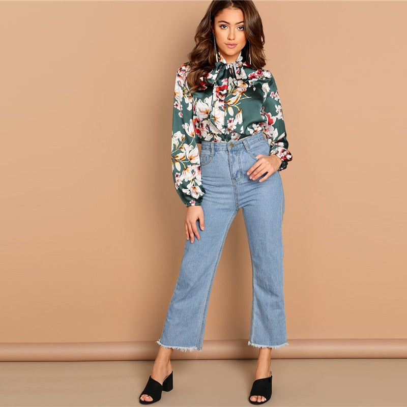 Green Floral Long Sleeve Blouse