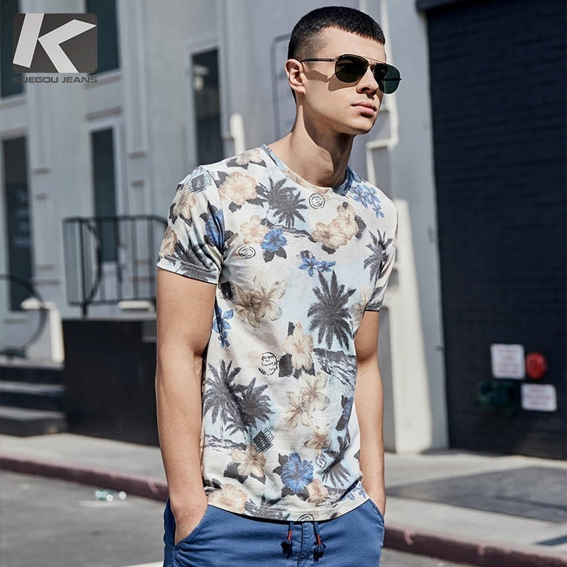b9402bf6e21f ... Summer 2019 New Men T Shirt Cotton Print Flower Color For Man Casual  Short Sleeve Slim ...