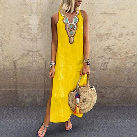 Linen Embroidery Printed Sleeveless V-neck dress