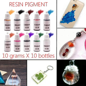 10Pcs DIY Crafts Epoxy Resin Pigment Mixed Color UV Coloring Dye ...
