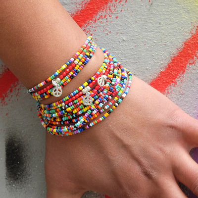 mehrreihiges Hippiearmband in Kombination - Hippie style Onlineshop