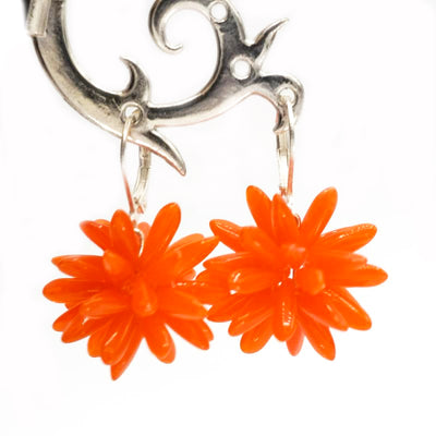 Silber Ohrring, orange mit origineller Glasperle - Jira Schmuck