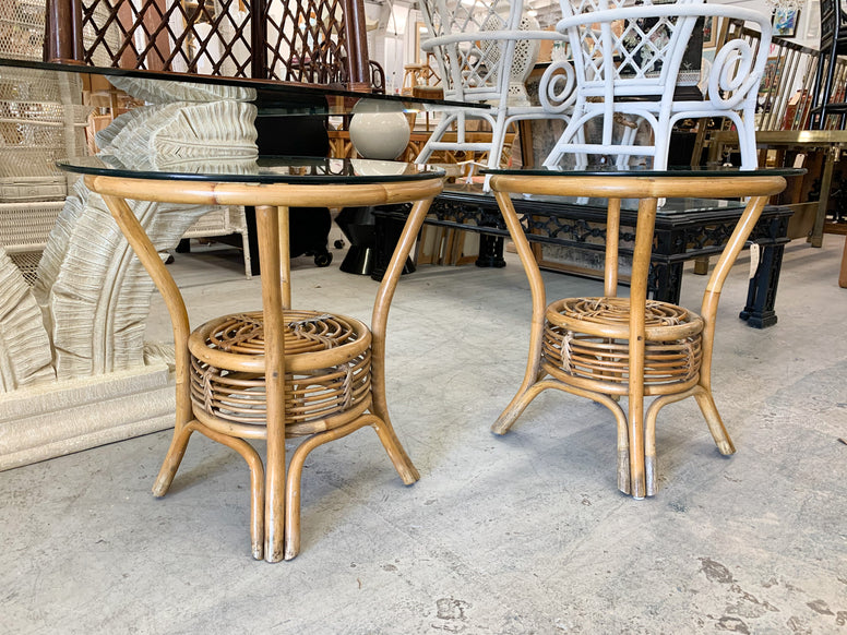 Pair of Round Rattan Side Tables