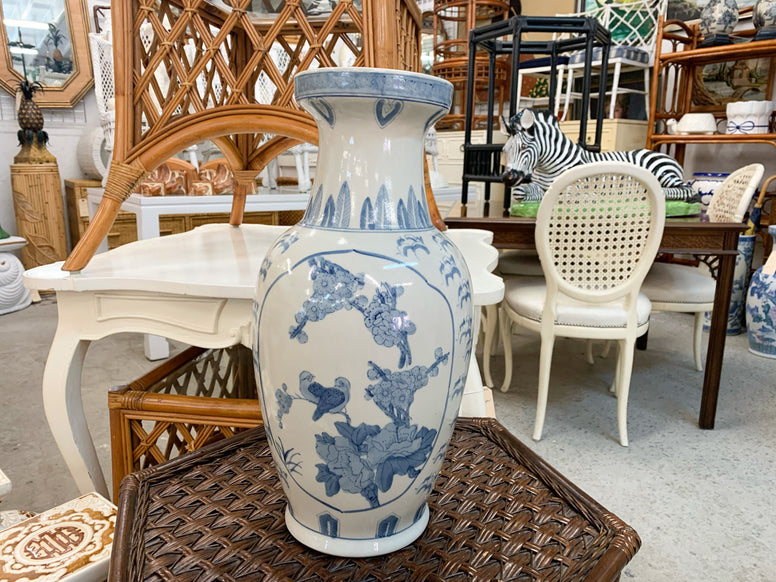 Blue and White Bird Vase