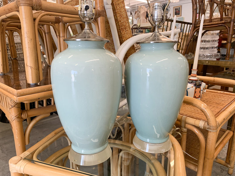 Pair of Sky Blue Lamps with Lucite Base